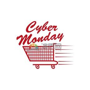 商业促销网购星期一购物车红色图标矢量图素材