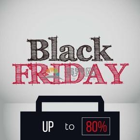 商业促销黑色星期五公文包图标矢量图素材