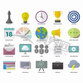 白色背景商業卡通圖標元素設計合集