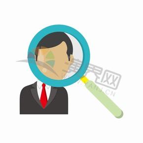 白色背景放大镜卡通商业图标元素创意设计
