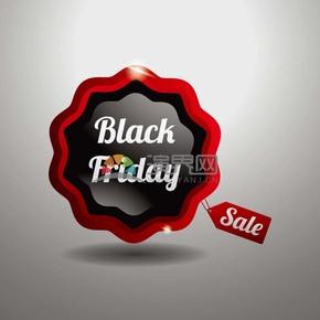 商业促销黑色星期五花边立体图标矢量图素材