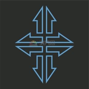 蓝色简洁创意十字箭头标识卡通图标