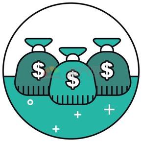 線性錢袋組合矢量圖