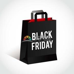 商业促销黑色星期五黑红购物袋图标矢量图素材