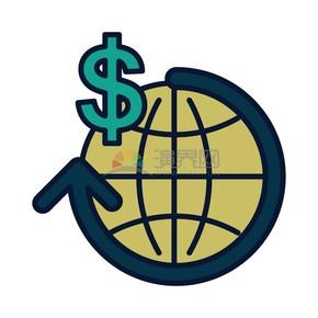 卡通商务金融地球经济配图素材
