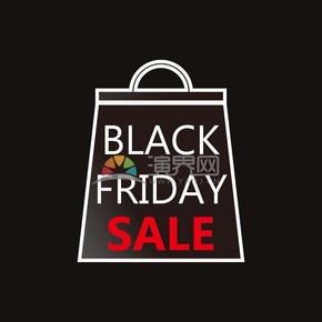 商业促销黑色星期五红黑购物袋图标矢量图素材