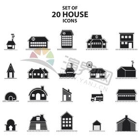 黑色创意简约怀旧复古房屋建筑图标合集