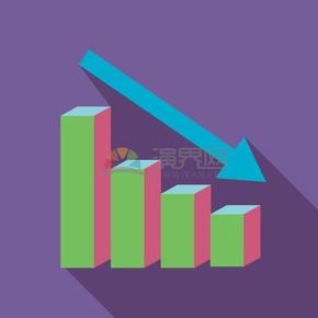 卡通商务金融经济数据下降插图办公素材