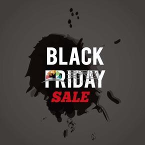 商业促销黑色星期五红黑墨迹图标矢量图素材