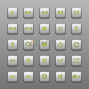 绿色简洁创意办公管理按钮图标合集