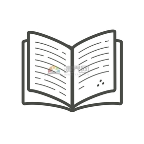 翻开书本黑色线条简约图标设计