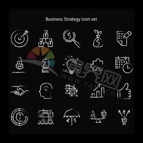 黑色系简约卡通商业图标元素创意设计合集