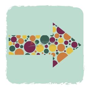 简洁创意彩色波点向右箭头标识卡通图标