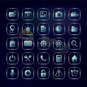 蓝青色办公管理社交媒体手机应用程序图标合集
