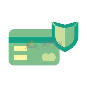 绿色银行卡护盾风格