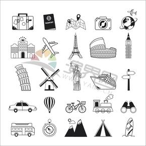 标志性建筑物交通工具世界环球旅行创意合集