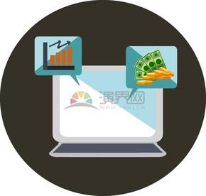 卡通商业金融金币纸币数据曲线图电脑办公元素插图