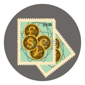 邮票风四种不同种类金币