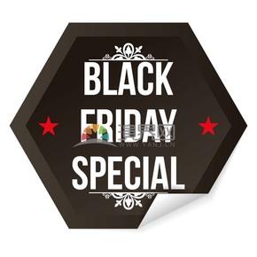 商业促销黑色星期五黑色多边形图标矢量图素材