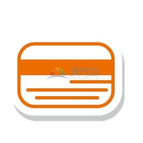 橙色线条立体卡片证件图标