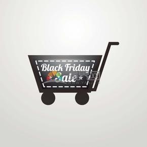 商业促销黑色星期五购物车徽章图标矢量图素材