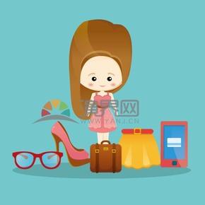 蓝色卡通可爱呆萌女生包包短裙高跟鞋眼镜手机购物素材