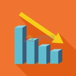 卡通商务金融经济数据下降插图素材