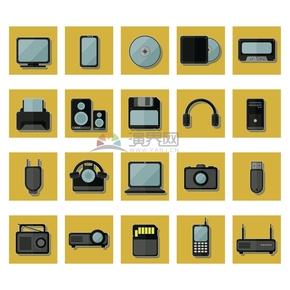 创意简约复古电子数码产品卡通图标合集