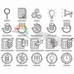 黑色线条简约金融卡通图标创意元素设计合集