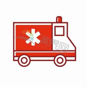紅色醫院醫療治療醫用器材救護車創意簡單圖標