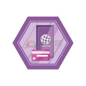 卡通紫色手机手机银行银行卡矢量素材