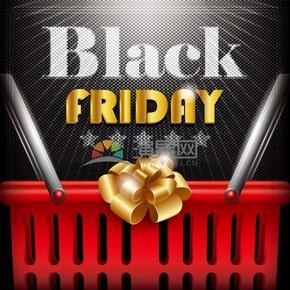 商业促销购物篮黑色星期五图标矢量图素材