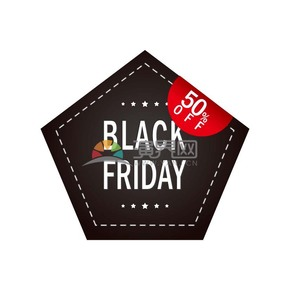 商业促销黑色星期五红黑多边形图标矢量图素材