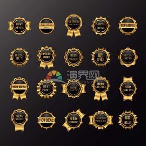 商业促销黑色圆形金边标志图标矢量图素材合集