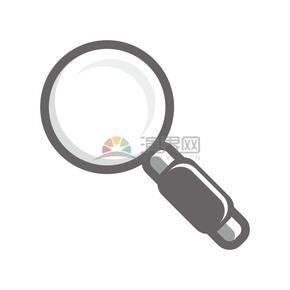 商业办公图标元素灰色放大镜