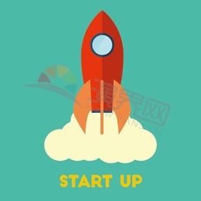 薄荷綠背景火箭商業卡通創意元素設計