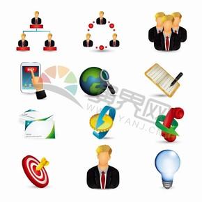 黑色商业商务办公管理目标合作交流创意图标合集