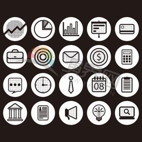 黑色圆标卡通图标商业元素创意设计