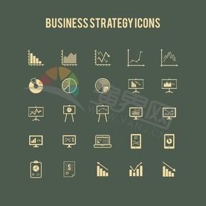 深色系背景简约金融卡通图标元素创意设计合集