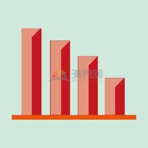 卡通商业金融数据下降柱状图办公元素图标插图