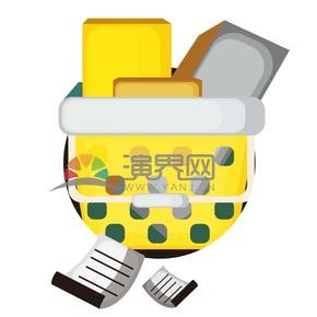 黄色信纸收纳篮卡通元素