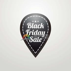 商業促銷黑色星期五標簽水滴狀圖標矢量圖素材