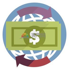 趣味活泼简约清新金融商业全球经济货币流通卡通图标