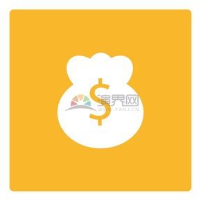 黄色背景钱袋商业图标矢量素材