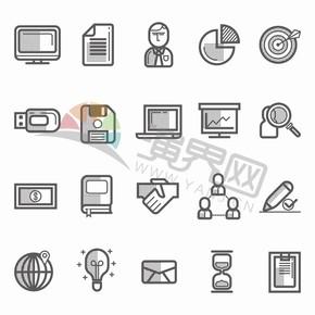 简约白色背景黑色线条卡通图标商业创意元素设计合集