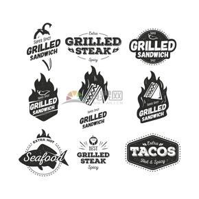 黑色创意简约西餐食物吸睛卡通图标合集