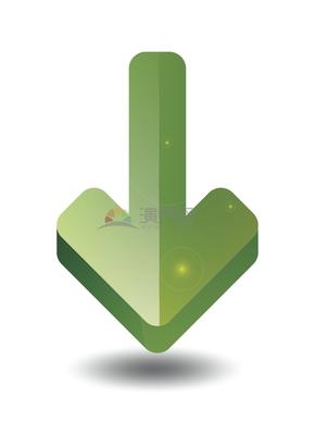 简洁创意绿色向下箭头标识卡通图标