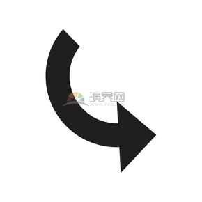简洁创意黑色右下指向箭头卡通图标
