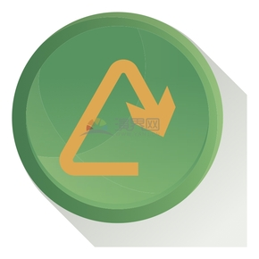 简洁创意绿色循环箭头标识卡通图标