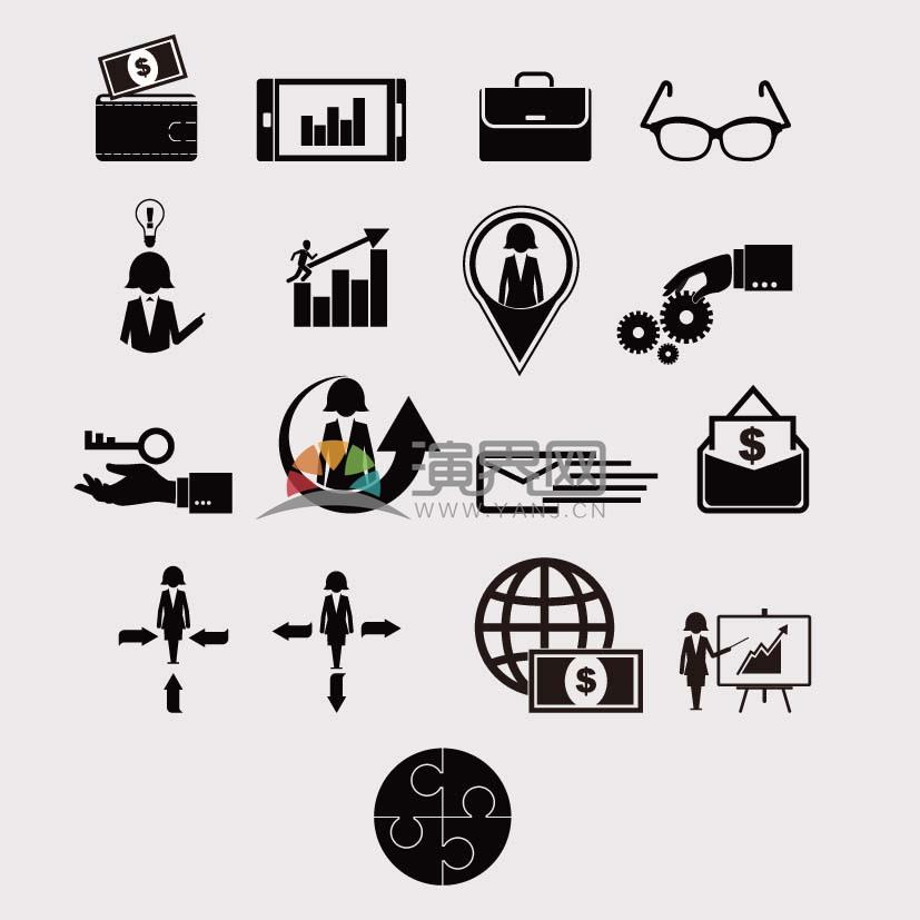商务金融黑白矢量图标合集
